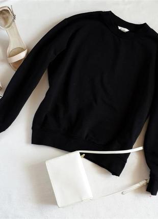 Базовый черный свитшот кроя оверсайз h&m