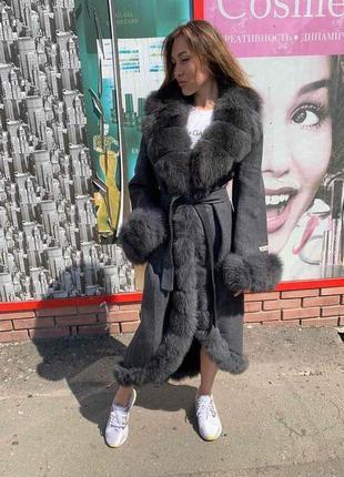 Пальто из альпаки (натуральная шерсть) с мехом песца