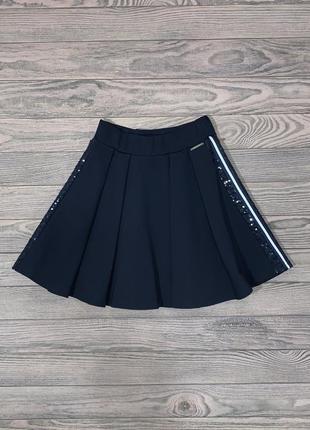 Стильная синяя юбка для девочки 6-11 лет.