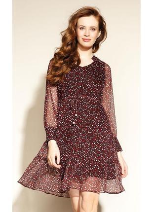 Платье шифоновое с кулиской короткое из жатки осеннее zaps felucia 015 сливовое (бордовое)