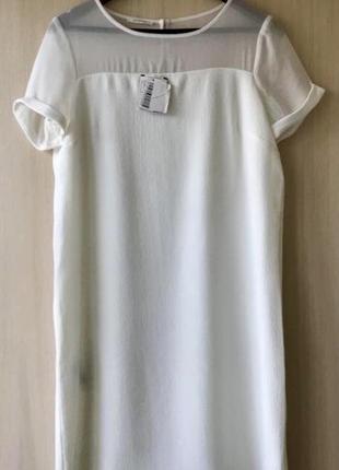 Белое платье с прозрачной вставкой promod / m