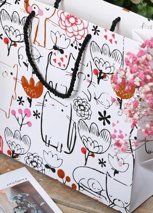 Пакет котики для подарков и хранения