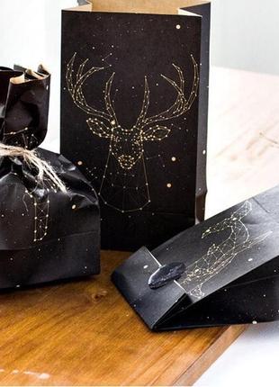 Набор стильных черных светящихся пакетов