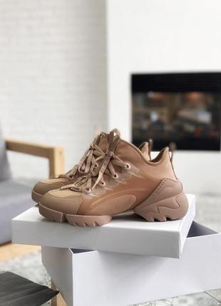 Dior d-connect beige 🆕 женские кроссовки диор 🆕 коричневые