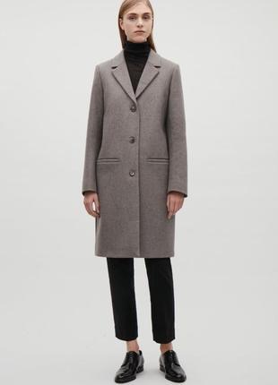Пальто шерстяное демисезонное шерстяной тренч cos размер 36