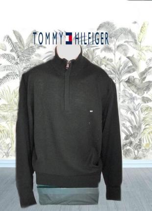 💨❄tommy hilfiger оригинал 100% lambswool шикарный мужской свитер черный на замке  xl💨❄