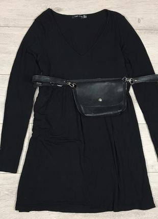 Базовое чёрное платье с длинным рукавом