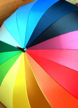 Качество! молодёжный женский яркий зонт трость радуга полуавтомат