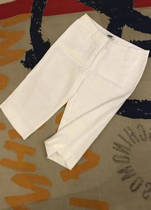 Белые льняные капри/шорты