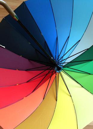 Качество! женский яркий зонт трость радуга полуавтомат купол 110 см3 фото