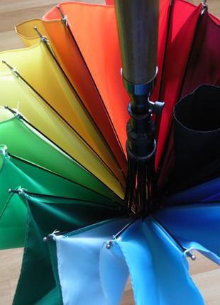 Качество! женский яркий зонт трость радуга полуавтомат купол 110 см4 фото