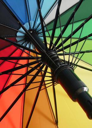 Качество! женский яркий зонт трость радуга полуавтомат купол 110 см5 фото