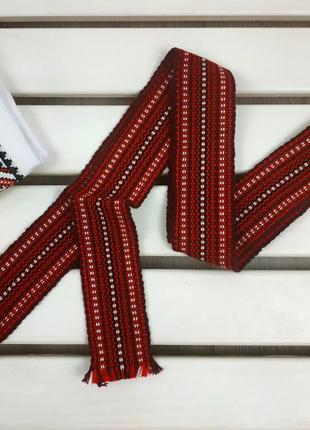 Пояс плетеный крайка узкая красная