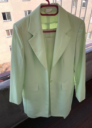 Костюм платье   пиджак мятный / салатовый