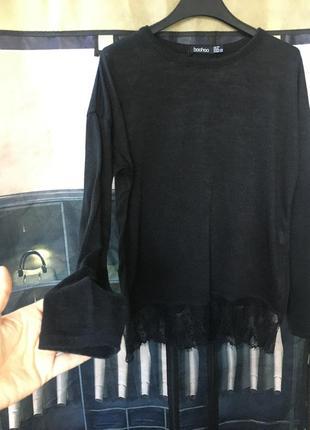Джемпер свитер с кружевом