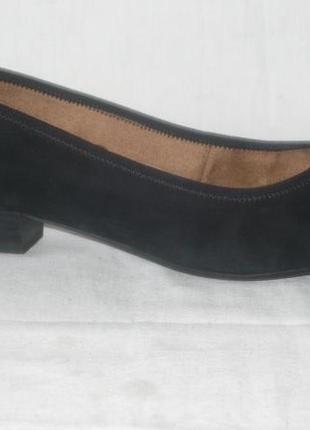 Jana 100% comfort мягкие кожаные классические базовые чёрные туфли лодочки замша