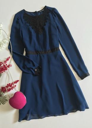 Шифоновое платье с кружевом warehouse, размер 8