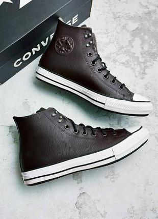 Converse оригинал кожаные темно-коричневые высокие теплые водостойкие кеды