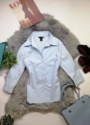 Женская рубашка голубая на осень стильная xs s хлопок h&m блуза