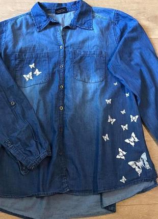 Модные вещи на пышных дам. джинсовая рубашка с бабочками