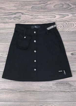 Черная джинсовая юбка для девочки 9-14 лет.