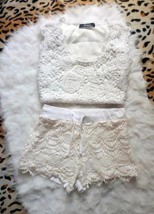 Белые короткие шорты с ажурным передом гипюр вязка на резинке со шнурком трикотаж