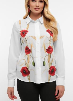 Нарядная рубашка - блузка с маками