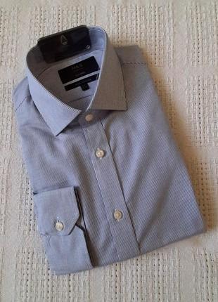 Мужская рубашка 100% хлопок marks&spencer в мелкую полоску ворот 39-40