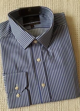 Мужская рубашка в  синюю полоску marks&spencer ворот 41