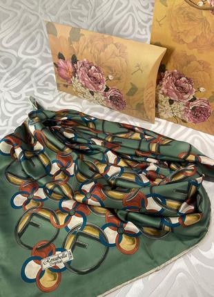 Шёлковый платок шарф с ручной обработкой края1 фото