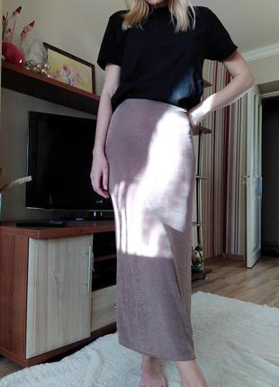 Длинная юбка по фигуре цвет капучино, юбка-чулок