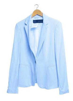Удлинённый пиджак/блейзер zara небесно голубой 100% хлопок