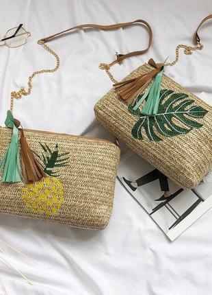 Женская стильная популярная небольшая соломенная сумочка сумка клатч