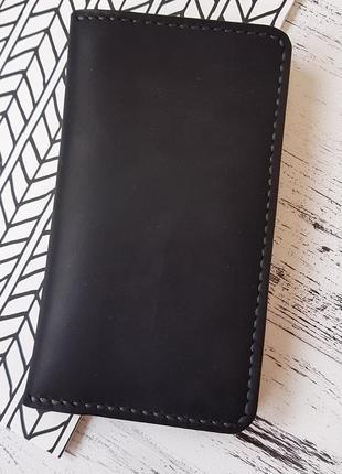Вертикальное портмоне из натуральной кожи ручной работы
