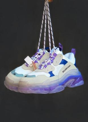 Шикарные кроссовки balenciaga triple s white\violet