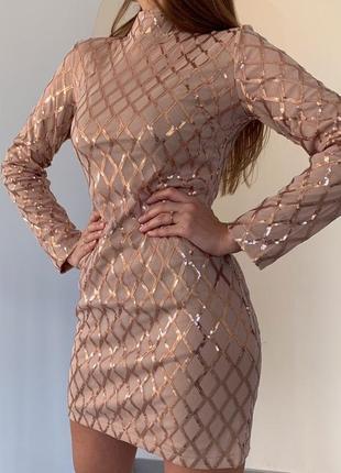 Платье с узором сетка из пайеток в расцветках