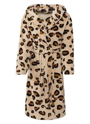 Шикарный леопардовый флисовый халат с капюшоном германия