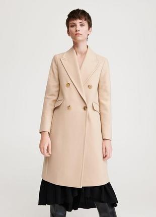 Пальто двубортное шерсть 70%