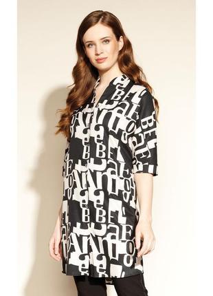 Платье-рубашка тонкое свободное женское осеннее весеннее zaps emara 004 черное черно-белое