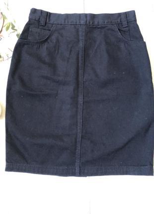 Чёрная джинсовая юбка миди