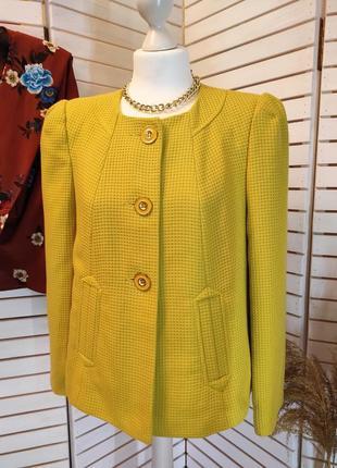 Шикарный вафельный пиджак /жакет горчично лимонного цвета