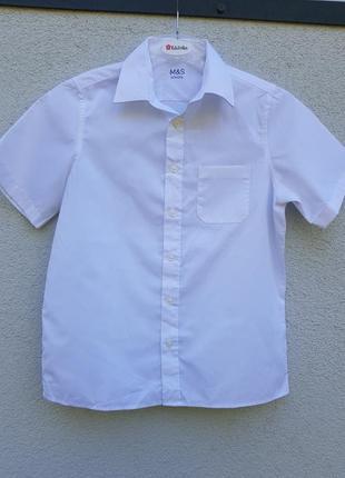 Белая рубашка с коротким рукавом на мальчика 11-12 лет