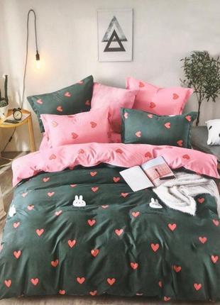 Двухспалтное постельное бельё сердечки