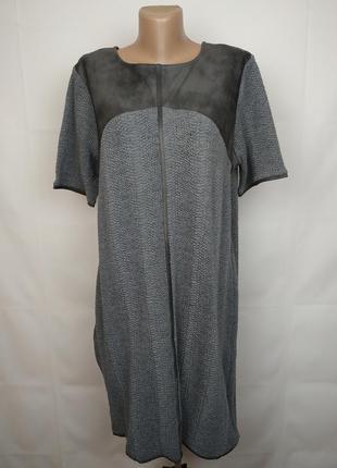 Платье новое стильное трикотажное с отделкой под кожу river island uk 16/44/xl