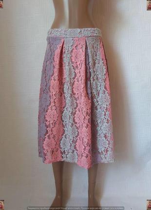 Фирменная boohoo шикарная юбка миди в красивое кружево, размер м-л
