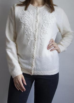 Невероятно красивый винтажный кардиган с вышивкой из бисера