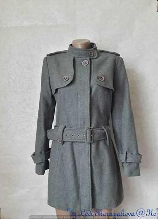 Фирменное oasis красивое стильное пальто на 70 %шерсть с поясом в сером цвете, размер м-л
