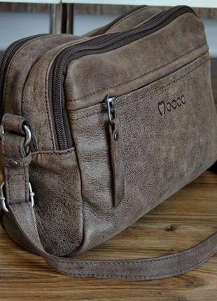 Кожаная сумка кроссбоди мессенджер mocca / шкіряна сумка