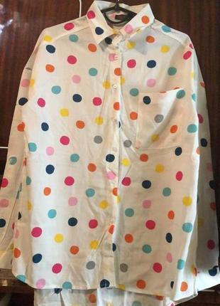 Нарядная блуза рубашка в горошек
