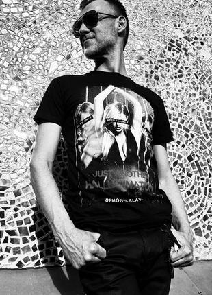 Черная мужская футболка tshrb007 demoniq с принтом хлопковая польша